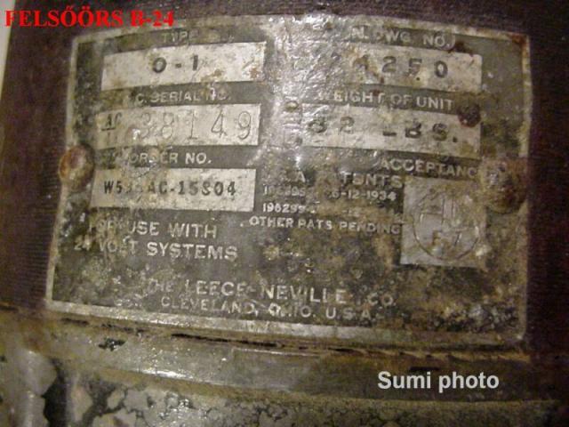 Felsőörs, B-24 H Generátorán található adattábla