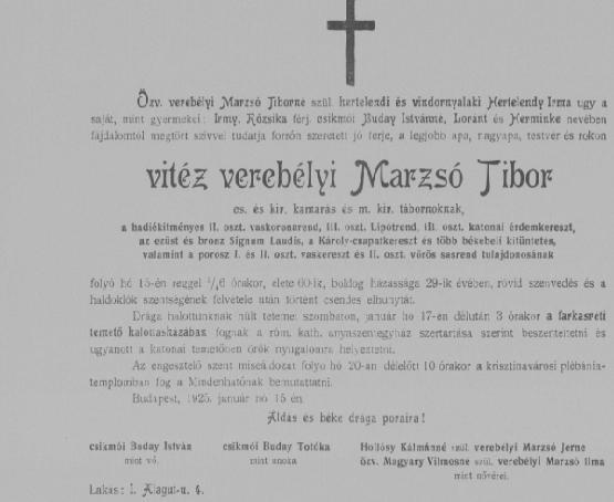 verebélyi Marzsó Tibor tábornok gyászjelentése