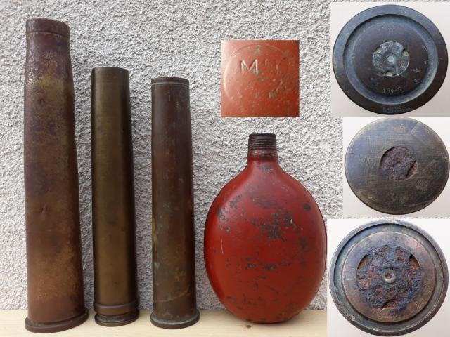 Légvédelmi gépágyú lőszerhüvelyek + egy német kulacs a kacatok közül