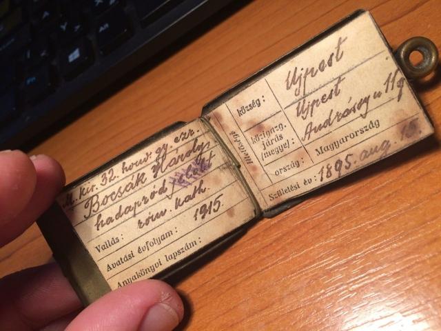Első világháborús azonosítójegy