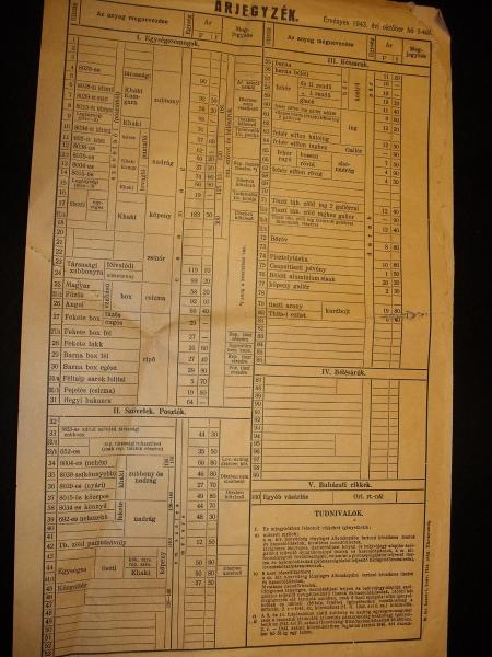Tiszti egyenruhák és tartozékok árai 1943 okt. 1-től