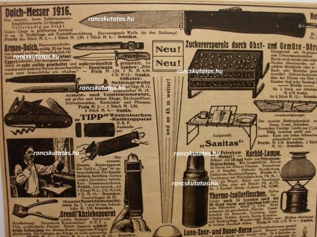 """""""Dress"""" bajonett elődje 1916-os reklám oldalon"""