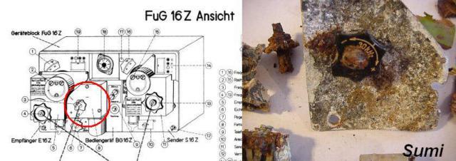 Messerschmitt Bf 109 FUG 16 Z rádió frekvencia állító gombja